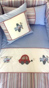 Babybugs 100 percent Cotton - Custom Baby and Kids Linen and Decor - Baby Cot Set Linen Cars Aeroplanes